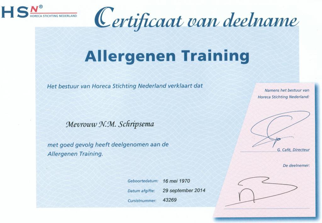 Certificaat Allergenen 13-12-'14