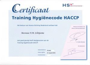 Certificaat HACCP voor de Horeca
